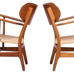 """Pair of Mid Century Hans Wegner """"Shell"""" Chairs, model CH-22 - Dimensions:L 24''  × W 27''  × H 28''"""