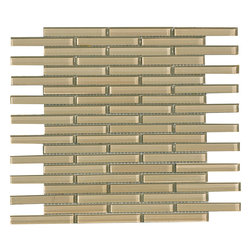 None - Fawn 0.5x4-inch Shiny Glass Tiles (Pack of 11) - Protect your walls and easily upgrade the look of your bathroom or kitchen with this pack of modern glass backsplash tiles. The glass and tile construction and neutral fawn color scheme create a clean,minimalist design against your walls.