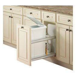 """Knape & Vogt - Waste/Recycle bin, Soft-Close feature, Bottom Door Mount, W""""19 by Knape & Vogt - Waste & Recycle unit comes with heavy duty undermount slides with a soft-close feature adding luxury to your kitchen. Unique, washable, solid backsplash and floor prevents debris from falling through."""