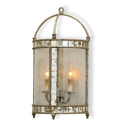 "Currey & Company - Currey & Company Corsica Silver Leaf and Wrought Iron Wall Sconce - This lovely sconce features styling with a pleasing combination of materials making this ""lantern"" wall sconce unique. The sconce has inlaid antiqued mirror that enhances an antiqued silver leaf framework. Seeded bent glass is the finishing touch that pulls it all together. The wall sconces are sold as pin-ups which allow them to be either hardwired or plugged in. The sconce measures 10""W X 6""D X 19""H and features 2 lights. The sconce takes two 60 watt max bulbs. (BULB IS NOT INCLUDED)"