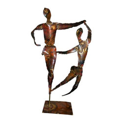 """Used Mid-Century Copper Dancers Statue - Note from the Seller: """"Most of us like to dance. We know a few who don't. Maybe looking at this mid century, beautiful copper """"Dancers"""" statue will make you want to dance. We love it!!""""     This is a signed mid century copper statue signed by the artist. Signature reads """"By Earl"""" and is engraved into the copper base on the lower right hand corner. Statue is mounted on a black wood base. Base measures 7"""" W x 5"""". Rich copper patina."""
