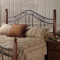 """Hillsdale - Madison Headboard - The Madison headboard is a popular combination of wood and iron elements that make this a great design. Square solid wood posts are combined with metal bed grills that feature round twisted wire spindles. The Madison headboard is the perfect combination of classic charm and modern intelligence. Features: -Black powder coated metal grills.-Unique rounded metal work.-2 Holes to screw in to standard headboard frame (hardware not included).-Fully welded construction.-Cherry walnut finished wood posts.-Madison collection.-Recommended care: Dust frequently using a clean, specially treated dusting cloth that will attract and hold dust particles, do not use liquid or abrasive cleaners as they may damage the finish.-Distressed: No.Dimensions: -Twin: 50.5"""" H x 40.25"""" W.-Full/Queen: 50.5"""" H x 62.25"""" W.-King: 50.5"""" H x 77.625"""" W.-Overall Height - Top to Bottom (Size: Full / Queen, King, Twin): 50.5""""."""