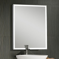 LED Illuminated Mirror with Aluminum Frame - This Stylish LED Illuminated Mirror from Lighted Image is the must have addition to your home or office space. Featuring an Aluminum Frame and LED's around the edge, this stunning contemporary LED bathroom mirror will compliment any space.