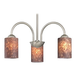 Design Classics Lighting - Chandelier with Brown Art Glass in Satin Nickel Finish - 592-09 GL1016C - Transitional satin nickel 3-light chandelier with brown pebble cylinder art glass shades. Takes (3) 100-watt incandescent A19 bulb(s). Bulb(s) sold separately. UL listed. Dry location rated.