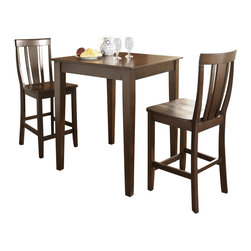 Crosley Furniture - 3 Pc Pub Dining Set w Tapered Leg and Shield - Includes Pub Table and 2 Shield Back Stools in Vintage Mahogany. Solid Hardwood & Veneer Construction Table . Solid Hardwood Stools. Hand Rubbed, Multi-Step Finish. Solid Hardwood Tapered Legs. Shaped Back for Comfort. Table Dimensions: 36 in. H x 32 in. W x 32 in. D. Stool Dimensions: 40 in. H x 18.5 in. W x 22.5 in. DConstucted of solid hardwood and wood veneers, the 3 piece Pub / High Dining set is built to last. Whether you are looking for dining for two, or just a great addition to the basement or bar area, this set is sure to add a touch of style to any area of your home.
