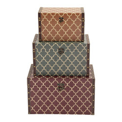 Antique Themed Stylish Rectangular Wood Vinyl Box, Set of 3 - Description: