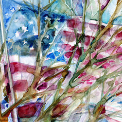 Usa Flag (Original) by Dorrie Rifkin - I enjoy friends, family, travel, art and good music. No matter where I go, I always remember to take my sketchbook and/or camera. The opportunity for inspiration can be found in surprising places.