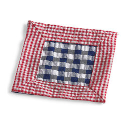 Frontgate - Set of Six Gingham Cocktail Napkins - Created by noted tabletop designer Kim Seybert. Puckered, 100% cotton fabric. Adds a casual, carefree touch to any table setting. Easy care machine wash, tumble dry. A classic Gingham-check Napkin is the perfect finishing touch to a summer tablescape or seaside picnic. Designer Kim Seybert brings a fresh look to this retro pattern with a distinctive palette, contrasting border and 100% cotton fabric.  .  .  .  .