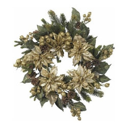 Nearly Natural - 24 Inch Golden Poinsettia Wreath - The holidays aren't always red and green, as this stunning golden poinsettia wreath demonstrates. With a magical combination of gold's, greens, and browns in various hues and textures (including faux pine stems and pine cones), this wreath adds a regal touch to any holiday decor, and is matchless in its stately charm.