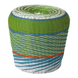 Havana Stools - These cheery woven stools add an extra pop of color wherever they go––indoors or out, from the playroom to the patio. A metal frame with tightly woven plastic makes them airy and fun, yet sturdy enough to host budding artists.