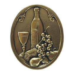 """Inviting Home - Best Cellar (bright brass) - Hand-cast Best Cellar Knob in bright brass finish; 1-1/4""""W x 1-1/2""""H; Product Specification: Made in the USA. Fine-art foundry hand-pours and hand finished hardware knobs and pulls using Old World methods. Lifetime guaranteed against flaws in craftsmanship. Exceptional clarity of details and depth of relief. All knobs and pulls are hand cast from solid fine pewter or solid bronze. The term antique refers to special methods of treating metal so there is contrast between relief and recessed areas. Knobs and Pulls are lacquered to protect the finish."""