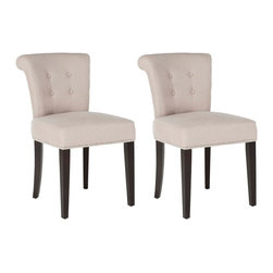 Safavieh - Sinclair Ring Chair (Set Of 2) - Taupe - The bent back of the Sinclaire dining chair, in taupe fabric with espresso finish on the legs, gets a classic dressed-up punch thanks to exposed nail heads and cleaver metal ring on its back. Button tufts on the front of the tapered backrest and generous cushions make it a handsome seat.