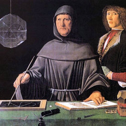 """Jacopo De Barbari Portrait of Fra Luca Pacioli and an Unknown Young Man - 16"""" x - 16"""" x 20"""" Jacopo De Barbari Portrait of Fra Luca Pacioli and an Unknown Young Man premium archival print reproduced to meet museum quality standards. Our museum quality archival prints are produced using high-precision print technology for a more accurate reproduction printed on high quality, heavyweight matte presentation paper with fade-resistant, archival inks. Our progressive business model allows us to offer works of art to you at the best wholesale pricing, significantly less than art gallery prices, affordable to all. This line of artwork is produced with extra white border space (if you choose to have it framed, for your framer to work with to frame properly or utilize a larger mat and/or frame).  We present a comprehensive collection of exceptional art reproductions byJacopo De Barbari."""