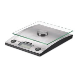 Cuisinart PerfectWeight Digital Kitchen Scale - Make your meals and desserts just a little bit better with the simple, efficient Cuisinart KML-10 PerfectWeight Digital Kitchen Scale. This scale makes it easy to control portions and bake with greater consistency. The easy-to-read digital screen offers complete accuracy and easy cleaning. The modern, sleek design of this scale will look perfect on your kitchen countertop. Plus, it's easy to store. Enjoy!About CuisinartOne of the most recognized names in cookware and kitchen products, Cuisinart first became popular when introduced to the public by culinary experts Julia Child and James Beard. In 1973, the Cuisinart food processor revolutionized the way we create fine food and healthy dishes, and since that time Cuisinart has continued its path of innovation. Under management by the Conair Corporation since 1989, Cuisinart is a universally celebrated name in kitchens across the globe. With a full-service product line including bakeware, blenders, coffeemakers, cookware, countertop appliances, kitchen tools, and much, much more, Cuisinart products are preferred by chefs and loved by consumers for durability, ease of use, superior quality, and style.