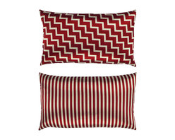 "NECTARmodern - Stairs and Stripes (red) zig zag chevron throw pillow 20"" x 12"" - Zig-zag diagonal ""stair"" pattern on one side and straight stripes on the other. Red and platinum printed on a silky smooth satin fabric. Designer quality cover with overstuffed feather/down insert."