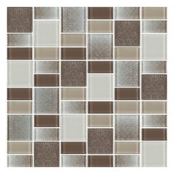 """Rocky Point Tile - Fusion Brown Glass Mosaic Tiles, 10 Square Feet - These tiles are a blend of 1 7/8"""" x 1 7/8"""" squares and 7/8"""" x 1 7/8"""" rectangles. The mix includes various shades of brown, tan and cream in a smooth high gloss finish as well a textured finish. A nice choice for anyone looking for a pop of color in their back splash or bathroom."""