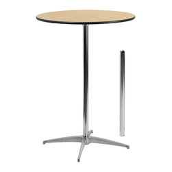 Flash Furniture - Flash Furniture 30 Inch Round Wood Cocktail Table w/ 30 Inch & 42 Inch Columns - - This versatile commercial grade Cocktail Table features a standard table height column and bar height column. The two column options allow you to optimize your resources when setting up different events. Enhance the look of the bar table configuration by adding a table cover and a loosely tied coordinating material. Table breaks down for easy transporting and organized storing. Cocktail tables can be used in banquet halls, conference centers, hotels, bars, clubs, training rooms, break rooms or any other social event. [XA-30-COTA-GG]  Cocktail Table (1)