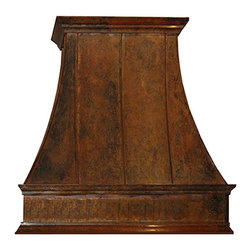 """myCustomMade - Country Copper Range Hood """"Montgomery"""", Natural Fired, 48"""", Kitchen Island - Hand hammered design makes this country copper range hood a great addition to the kitchen. Customize the traditional copper hood by choosing natural fired, coffee, honey or antique finishing. """"Montgomery"""" style is produced as 30, 36 or 48 inches wide. Its depth is 22"""", height 36"""" and it takes about thirty days to deliver. Once purchased specify the hood 220000026 version as wall mount or kitchen island. Enjoy free delivery."""