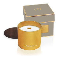 Atelier Chandel - Kashmir Vanille - 12 oz. - Vanilla, musk, and exotic woods bloom with sweet flowers and saffron in the deliciously feminine aroma of the Kashmir Vanille Chandel, a scented candle crafted to offer sophisticated stimulation to all the senses.  Contained in a signature golden glass jar, the candle is made from a blend of fine natural oils; a clean-burning wood wick standing in the center provides a gentle crackle when alight.