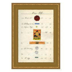 Soicher-Marin - Antique Apothocary Labels, Paris G - Giclee Print with a mid century modern antique distressed bronze wooden frame with fly speckle antique with a gold key line around image on a brown/tan mat. Includes Glass, eyes and wire. Made in the USA. Wipe down with damp cloth
