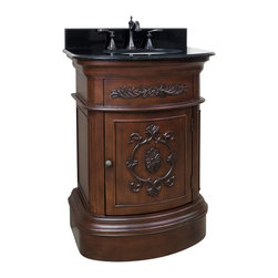 "Hardware Resources - Lyn Design VAN031-T - This 26"" wide MDF vanity has timeless appeal with carved floral details, elegant curves and rich merlot finish. The compact size makes this vanity a perfect pedestal sink replacement. A large cabinet provides ample storage. This vanity has a 2CM black granite top preassembled with an H8809WH (15"" x 12"") bowl, cut for 8"" faucet spread, and corresponding 2CM x 4"" tall backsplash. Overall Measurements: 26"" x 21"" x 35-3/4"" (measurements taken from the widest point)"