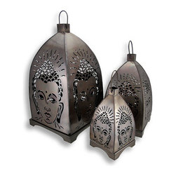 Set of 3 Metal Cutout Buddha Candle Lanterns - This set of 3 metal candle lanterns illuminates your home, porch, or patio, creating a serene atmosphere for all to enjoy. The lanterns feature intricate cutouts forming an image of Buddha. The largest lantern is 15 1/2 inches tall with an 8 3/4 inch square base, the middle lantern is 11 inches tall with a 6 1/4 inch square base, and the smallest lantern is 8 inches tall with a 4 inch square base. The tops of the lanterns lift off the base, making it easy to light the candles and to clean. Use battery operated LED candles for worry free accent lighting and no mess. The lanterns have an antique bronze finish that is sure to complement most any decor, and they make a lovely housewarming gift.