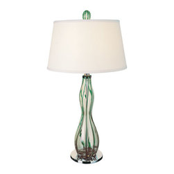 Trend Lighting - Venetian TT1243 - Table Lamp | Trend - Trend Venetian polished chrome and green glass with off-white linen shade finish table lamp Manufacturer:�_Trend LightingSize:�_31 in. high x 16 in. diameter Light Source:�_1 x�_120V/ 150 watt. Incandescent or CFL/LED equivalent - not includedDimmableCertifications:�_UL