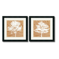 Amanti Art - Wood Silhouette - Set by Erin Clark - With the clever mix of subject silhouette and material texture, these prints are as thought provoking as they are artful.