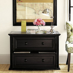 Ballard Designs - Home Office Ensemble File Console - Hands down, my favorite feature about this file cabinet is that it looks like a dresser. If I were using it in my own space, I would kick up the drama a notch and add brass ring pulls.