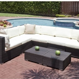 Edge Collection Outdoor Sectional Sofa - The Edge sectional outdoor wicker sofa can create a straight line sofa, L-shaped or U-shaped seating. A matching coffee table is also available.