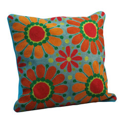 Modelli Creations - Crewelwork Sunflower Design Pillow, Blue - Made in India. Cotton/polyfill. Dry clean only.