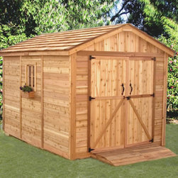 Outdoor Living Today - Outdoor Living Today SM812 SpaceMaker 8 x 12 ft. Storage Shed - SM812 - Shop for Sheds and Storage from Hayneedle.com! Park your riding lawnmower your kids' bikes or even the motorcycle inside the spacious Outdoor Living Today SM812 SpaceMaker 8 x 12 ft. Storage Shed. Made with attractive sturdy Western red cedar this tool shed features a mahogany veneer on the interior panels and a cedar shake roof. The cedar-planked double doors open up 62 inches wide for easy access and usability. Plus a large fixed window includes a flower box to add a pleasant natural touch. Assembly is a weekend project for one or two people. One-year limited warranty included.DimensionsExterior: 8.2W x 11.5D x 8.75H feetInterior: 7.6W x 10.9D x 8.5H feetDoor: 5.2W x 6H feet About Cedar WoodCedar wood is lightweight and resistant to both cracking and moisture rot. The oils of this resilient wood guard against insect attack and decay and their distinctive aroma acts as a mild insect repellant. Cedar is a dependable choice for outdoor furniture either as a finished or unfinished wood. Over time unfinished cedar left outdoors will weather to a silvery gray patina. This natural process does not compromise the strength or integrity of the wood.Another great aspect of cedar is its environmental effect - which is minimal. A renewable resource cedar wood emits low greenhouse gases. So rest assured knowing that your beautiful cedar furniture is a green choice too!About Outdoor Living TodayOutdoor Living Today has a simple goal. That goal is to provide the best wood products to the marketplace at the best value. Established in 1974 Outdoor Living Today has a well-earned reputation for making products that are functional durable attractive and affordable. Products are designed so that the average person with limited building skills can assemble them. Gazebos sheds playhouses and pergolas are all uniquely designed and constructed from beautiful Western red cedar.