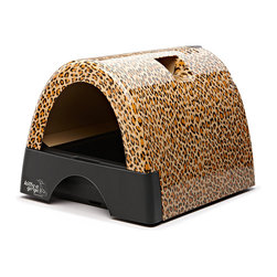 Automated Pet Care Products - Kitty A GoGo Leopard Print Designer Cat Litter Box - Cats are members of millions of homes and everyone knows about the dirty, not-so-secret dilemma of the litter box. Cat owners with taste and style choose the Kitty A GoGo to remove an ugly eyesore from their home and give their cat a beautiful place to Kitty A GoGo! Even cats can take pride in their special space which is offered in 6 designs: Gray Metallic, Polka Dots, Leopard Print, Black, Flower Print, and Burl Wood Look. Cat owners in apartments, lofts and studio apartments will particularly appreciate this litter box as an attractive conversation piece in their décor.  Cat owners don't want to decorate their home with a box of clumps but that is what often happened before Kitty A Go Go!  Made of solid heavy duty plastic for easy disassembly and cleaning, the Kitty A Go Go is a stylish addition to your decor.  As it is enclosed on three sides, less litter gets kicked out helping keep your home clean and tidy.  With the clear plastic hinged door, the Kitty A Go Go is one of the neatest litter boxes available.  The large litter drawer pulls out for easy servicing and the six Kitty A Go Go styles add a decoative element to any home.  Constructed using highest quality, high impact, stain-resistant plastic.  Pull out litter tray drawer for easy cleaning. Large capacity litter tray. Disposable liner (included).  Built-in ventilation slots. No disassembly required to clean litter tray.  Cleans in just seconds. Hideaway hand scoop storage. Portable with convenient grab handle. Made in China