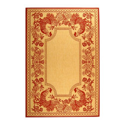 Safavieh - Natural & Red Rooster Rug (5 ft. 3 in. x 7 ft. 7 in.) - Size: 5 ft. 3 in. x 7 ft. 7 in.. Machine Made. Made of Polypropylene.