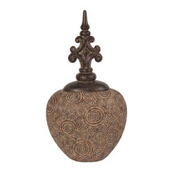 Howard Elliott - Howard Elliott 97007 Classic Antique Scrolled Aged Brown Round Urn - Classic antique scrolled aged brown round urn with bronze fleur di lis top
