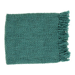 Tobias Throw - Aqua - Move beyond necessities to detail a space with unexpected comforts when you use the Tobias Throw in Aqua to fold over a chair or anchor the end of a bed.  The deep hue of this simple woven blanket is cool, but the wool-blend yarns and soft, chunky fringe are warm, resulting in a cozy accessory for quiet evenings in that still contributes to an upscale palette.