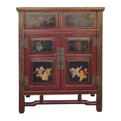 Golden Lotus - Chinese Red Floral Kid Graphic Accent Side Table - This side table has vintage red lacquer base color and hand-painted graphic of oriental flower pattern and kids motif.