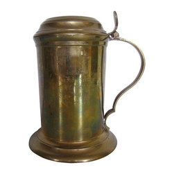 Vintage Brass Regatta Trophy Stein Tankard - Go forth and drink from this stylish stein - a vintage brass Regatta trophy stein tankard. Pop it on a shelf for display or use it as a stylish storage container. The piece has vintage wear consistent with age.