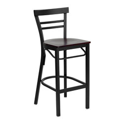 Flash Furniture - Flash Furniture Hercules Series Black Back Metal Bar Stool in Mahogany - Flash Furniture - Bar Stools - XUDG6R9BLADBARMAHWGG - This heavy duty commercial metal bar stool is ideal for Restaurants Hotels Bars Pool Halls Lounges and in the Home. The lightweight design of the stool makes it easy to move around. The tubular foot rest not only supports your feet but acts as an additional reinforcement that helps secure the legs. You will not regret the purchase of this bar stool that is sure to complement any environment to fill the void in your decor. [XU-DG6R9BLAD-BAR-MAHW-GG]