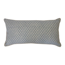 JITI - Small Mini Poppy Springs Smokey Blue Pillow - This is the bolster pillow you've been looking for! Creamy blue, delicately floral and the perfect shape to top off the comfy collection on your bed. Finely made with a cotton shell and feather/down insert.