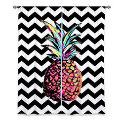 DiaNoche Designs - Window Curtains Unlined by Organic Saturation - Party Pineapple Chevron - Purchasing window curtains just got easier and better! Create a designer look to any of your living spaces with our decorative and unique unlined window curtains. Perfect for the living room, dining room or bedroom, these artistic curtains are an easy and inexpensive way to add color and style when decorating your home.  This is a tight woven poly material that filters outside light and creates a privacy barrier.  Each package includes two easy-to-hang, 3 inch diameter pole-pocket curtain panels.  The width listed is the total measurement of the two panels.  Curtain rod sold separately. Easy care, machine wash cold, tumbles dry low, iron low if needed.
