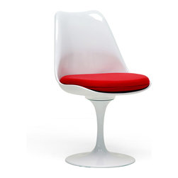 Baxton Studio - Baxton Studio Cyma White Chair - Retro design with a burst of color, the contrast between the stark white of this chair base and the bold red of the seat cushion will excite your living space. The contemporary chair consists of a sturdy steel base with heavy-duty molded plastic seat, all with a glossy white lacquer. Also included is a detachable red woven fabric cushion made of high density foam (securable via the included Velcro pads). Assembly is required.