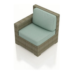 Forever Patio - Hampton Outdoor Wicker Left Arm Sectional, Heather Wicker and Spa Cushions - Create a sectional that looks great and provides plenty of comfort with the Forever Patio Hampton Patio Wicker Sectional Left Arm Facing Chair with Turquoise Sunbrella cushions (SKU FP-HAM-LAC-HT-SP). The UV-protected, heather wicker sports a flat woven design, creating a contemporary look with clean lines. Each strand of this outdoor wicker is made from High-Density Polyethylene (HDPE) and is infused with its rich color and UV-inhibitors that prevent cracking, chipping and fading ordinarily caused by sunlight. This modern outdoor sectional piece is supported by thick-gauged, powder-coated aluminum frames that make it more durable than natural rattan. This sectional piece includes fade- and mildew-resistant Sunbrella cushions for added comfort to your outdoor space.