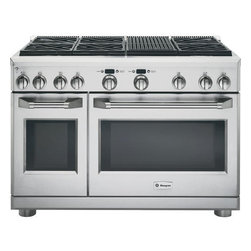 "GE Monogram  48"" All Gas Professional Range with 6 Burners and Grill - This range has 6 Sealed Dual-Flame Stacked Burners, Grill, Reverse Air Convection, 6.2 cu. ft. Caterer Oven, and Infrared Broil Burner."