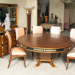 Empire Style Dining Table and Chairs - Empire style round dining table with chairs is inspired from Neoclassic by the Late Empire Style. This set includes 10 chairs and is available in 3 different sizes. In addition, the cherry wood veneers and bronze work is inlaid and finished in artisan French gold foil.