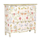 Tall Three Drawer Chest, White Floral - A floral chest is a big commitment (don't tell your husband), but it would look great in a cottage or any space you'd like to add a vintage, shabby chic feel.