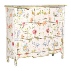 Tall Three Drawer Chest, White Floral