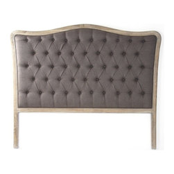 """Zentique - Maison Tufted Aubergine Linen Headboard by Zentique - Natural oak frames this classily shaped headboard which has been updated with linen tufting for a soft welcoming look. Compliment this with neutral or colorful bed linens to reflect your personal style. (ZEN) Queen: 68"""" wide x 3"""" deep x 54"""" high. King: 84"""" wide x 3"""" deep x 54"""" high"""