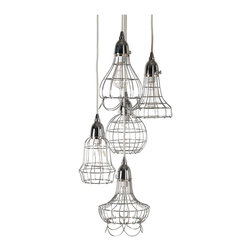 Lazy Susan - Lazy Susan Silver Wire Five Pendant Lamp X-930522 - Made from nickel-plated iron