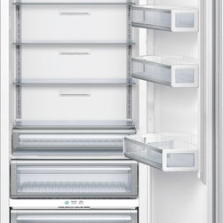 """Thermador 30 inch Built-In Fresh Food Column T30IR800SP - W: 29 3/4"""" H: 83 3/4 """" D: 24"""" Freedom to customize. Freedom to go modular. Freedom to integrate your refrigeration with the design of your kitchen. That's what makes Thermador Freedom Refrigeration the leader in true flush, tall door design. Our refrigeration solutions integrate seamlessly into your kitchen design, with custom fronts and concealed venting grille. Our portfolio of custom panel models - available in 18"""", 24"""", 30"""" and 36"""" widths - offers the most design choices in the industry, allowing you to configure your own unique combination of bottom freezers, fresh food, freezer and wine preservation columns. And nothing beats the convenience of our pre-assembled bottom freezers, ready to install straight from the factory. Equipped with flat stainless steel panels and either Professional or Masterpiece Handles set off by a removable stainless steel frame, these units deliver perfect built-in fit and aesthetics in a 24"""" or 25"""" deep cabinet. True to the Thermador heritage and re-imagined for 2012 with a range of state-of-the-art functionality and features, the Freedom Refrigeration collection gives you full control to design your personal culinary studio."""